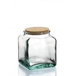 Bocal Carré 3,2 litres en verre avec bouchon liège