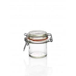 12 tarros a canilla llamada también cierre mecánico Ermetico (tipo bocal Fido), capacidad 135 ml.