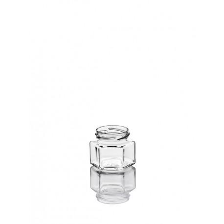 36 Bocaux Hexagonal 106 ml PLATS en verre avec capsules TO 53 mm