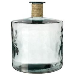 Grand vase en verre 100% recyclé JARRON FRANCES ENEA,  45 CM, finition raffia