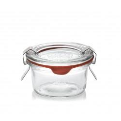 WECK® Sturzglas 50 ml (Rundrand 100) 12 Gläser / Karton mit Deckeln und Einkochringen (ohne Klammern)