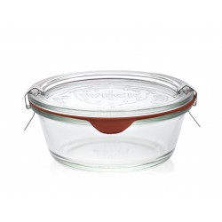 6 recht glazen Weck® Gourmet 300 ml. Ingesloten deksels en verbindingsstukken. Niet ingesloten clips