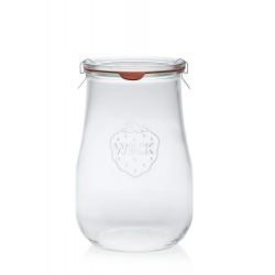 4 bocaux WECK Corolle® 1750 ml avec couvercles en verre et joints (clips non inclus)