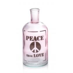 """Petite bouteille / Vase rose """"Peace True Love"""", 675 ml hauteur 19.5 cm"""