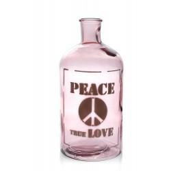 """Grande bouteille ou vase rose, """"Peace True Love"""" 28 cm de haut, 2700 ml"""