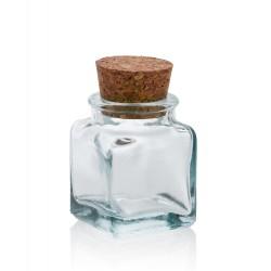 24 Mini bocales Cuadrados 30 ml, con tapón en corcho