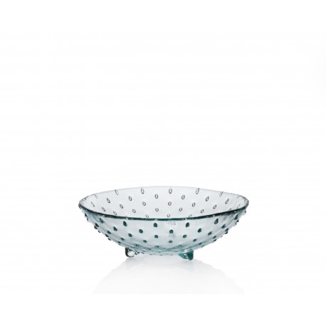 Lot de 6 Bols ou corbeille de fruits, coupe en verre 100% recyclé de la collection Puntos. Hauteur 7 cm, diamètre total 20 cm