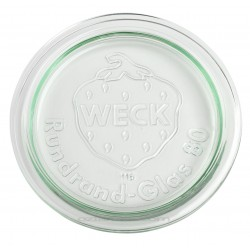 6 glass lids for Weck jars diameter 80 mm