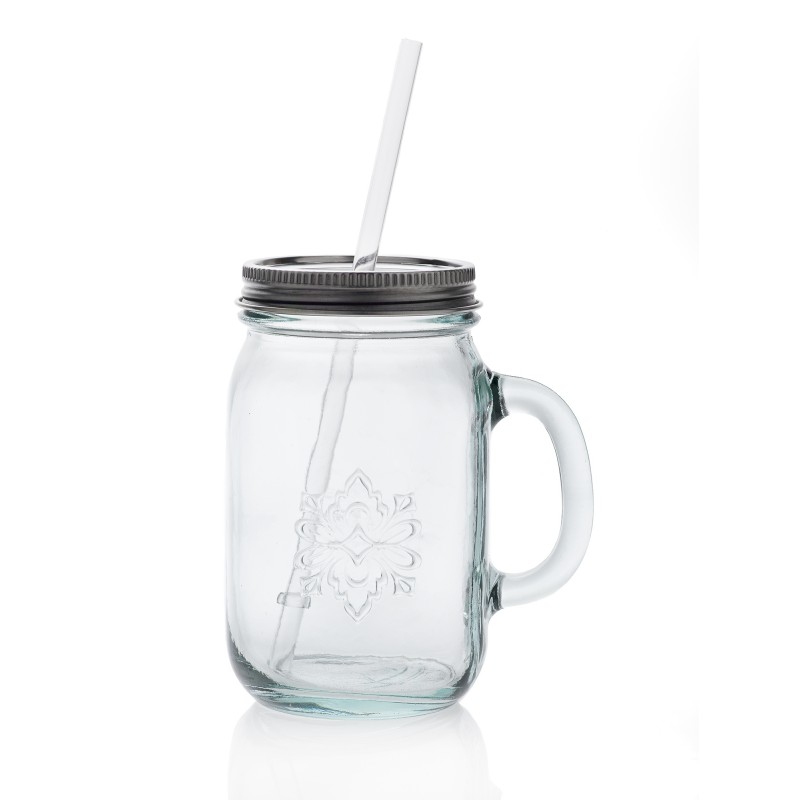 tasse mug avec paille et anse style mason jar 550 ml haut 15 cm. Black Bedroom Furniture Sets. Home Design Ideas