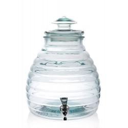 Botella Colmena en vidrio 11 litros, 100% reciclado, con tapa en vidrio con grifo