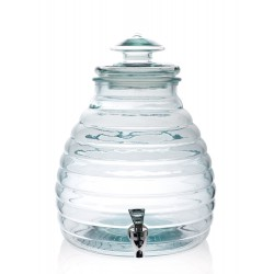 Bottle Hive out of glass 11 liters, 100% recycled, with lid out of glass with tap