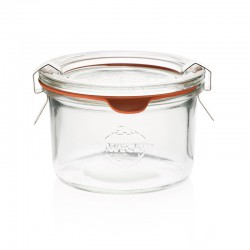 12 jars WECK®  DROIT, mold shape, 200 ml with glass lids and natural rubber rings (clips not included)