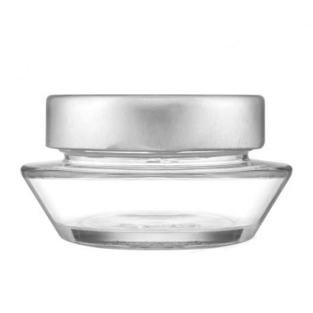 8 bocaux en verre modèle SHAI gamme luxe, avec capsule Deep argent TO 76 mm
