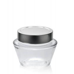 6 Bocaux en verre SHAI 212 ml avec capsules Deep à visser argent TO 76 mm