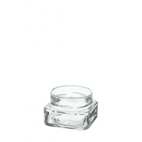 24 bocaux TAO 106 ml forme carrée avec capsule Deep argent TO 70 mm