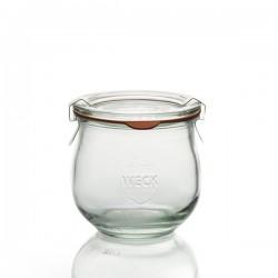 6 bocaux en verre WECK® Corolle® 370 ml, diamètre 80 mm avec couvercles et joints (clips non inclus)