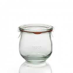 WECK®-Tulpenglas 370 ml (Rundrand 80 ) 6 Gläser inklusive Glasdeckel und Einkochringe / Karton (ohne Klammern)