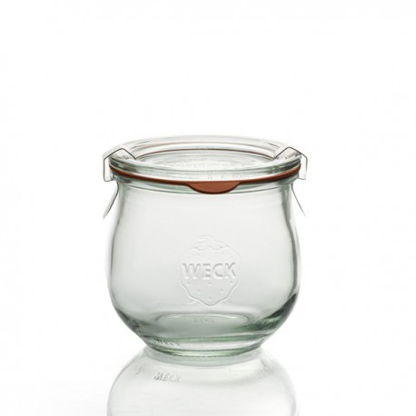 6 glass jars glass Models COROLLE 370ml, diameter 80 mm. Rubber rings and lids included. Clips Not included.