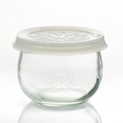 Coiffe en silicone Blossom eCAP Storage, diamètre 100 mm, couleur blanche pour bocaux WECK