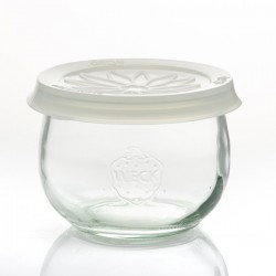 Coiffe en silicone Blossom eCAP Storage, diamètre 100 mm, couleur blanche transparente pour bocaux WECK