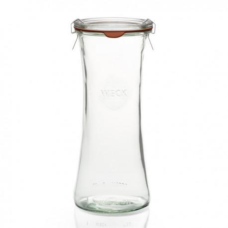 Nouveauté : 6 bocaux en verre WECK Bobine® 700 ml avec couvercle ne verre et joint (clips non inclus)