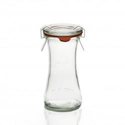 6 glazen potten WECK® Bobine® 110 ml, met glazen deksel en de pakking een diameter van 40 mm (niet meegeleverd clips)