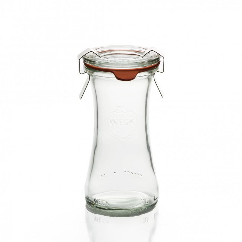 nouveaut 6 bocaux en verre weck bobine 110 ml avec couvercle en verre et joint diam tre 40. Black Bedroom Furniture Sets. Home Design Ideas
