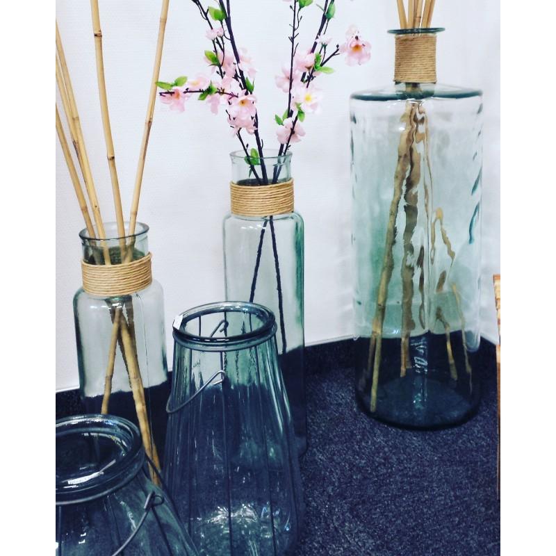 Vase En Verre 100 Recycl Modle Noa Avec Raffia Hauteur 28 Cm