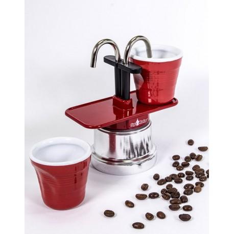 """Machine à café italienne TOP MOKA, duo """"Tête à tête"""", couleur Rouge"""