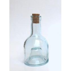 1 BOUTEILLE 16 CM A EMPILER (sans la base) en verre recyclé, avec bouchon en liège