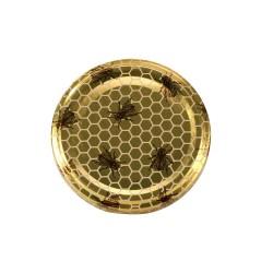 100 Capsules TO 82 mm motif abeilles sur fond alvéoles dorées