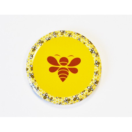 Capsule to 82 mm motif essaim abeille marron stylisee sur fond jaune