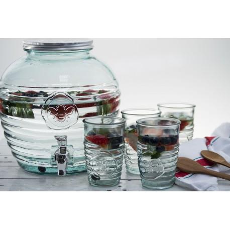 """Bonbonne """"Abeille"""" 8 litres avec robinet en verre 100% recyclé"""