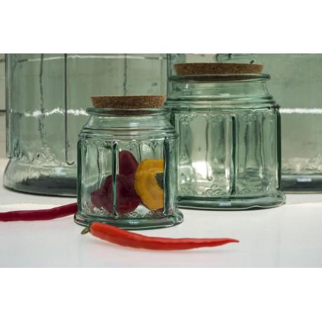 Bocal bohemian 1.5 litre bouchon liege haut 15 cm diam 15.5 cm