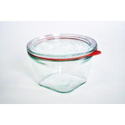 Jar weck® Quadro 290 ml met deksel en afdichting ø 100 mm inclusive (niet inbegrepen clips)