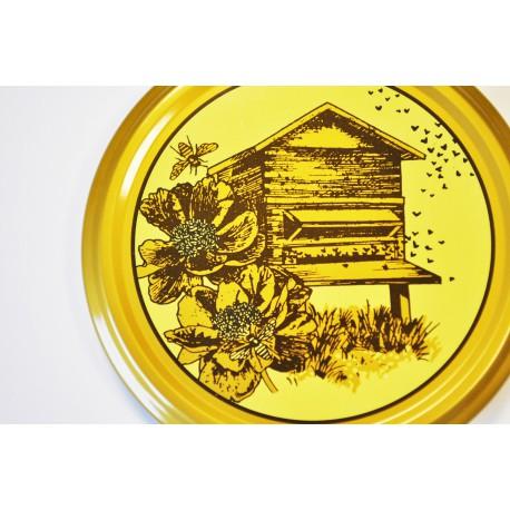 100 Capsules TO 82 mm décor marron et or motif ruche en bois