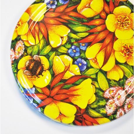 100 Capsules TO 82 mm avec motif fleurs multicolores