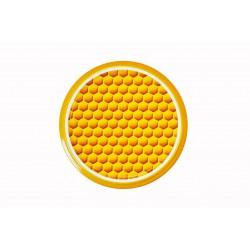 Capsules TO 82 mm motif alvéoles jaunes pour bocaux de miel / apiculteurs