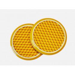 100 Capsules TO 63 mm motif alvéoles jaunes pour bocaux de miel / apiculteurs
