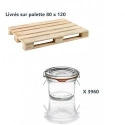 1 Palette de 3960 Bocaux en verre Weck® Droits 80 ml avec couvercles et joints (clips non inclus)