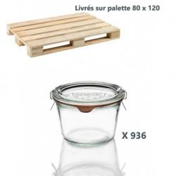 936 glazen in glas Weck® recht DROIT 370 ml met deksels in glas en verbindingsstukken (niet ingesloten clips)