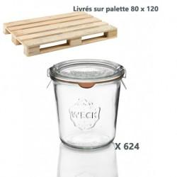 624 glazen in glas Weck®  recht DROIT 580 ml met deksels in glas en verbindingsstukken (niet ingesloten clips)