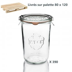 1 palette de 390 Bocaux en verre Weck® DROITS 850 ml avec couvercles en verre et joints (clips non inclus)