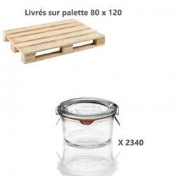 2340 glass jars Weck glass special Foie gras, 165 ml with glass lids and rubber rings (clips not included).