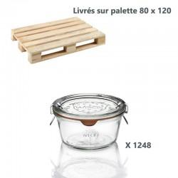 1 palette de 1248 bocaux Weck® Droits 290 ml Plats, diam. 100 mm avec couvercles en verre et joints (clips non inclus)