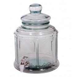Bonbonne 6 litres bohemian couv. verre haut. 32 cm, avec robinet
