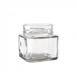 24 bocaux TAO 212 ml forme carrée avec capsule Deep argent TO 70 mm