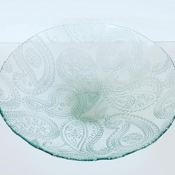 Grand saladier/ centre de table, en verre 100% recyclé, Cuenco Cachemir 10 x40 cm