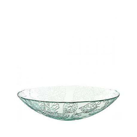 Grand Saladier en verre 100% recyclé modèle cuenco otono, motifs feuillages 10 x 40 cm