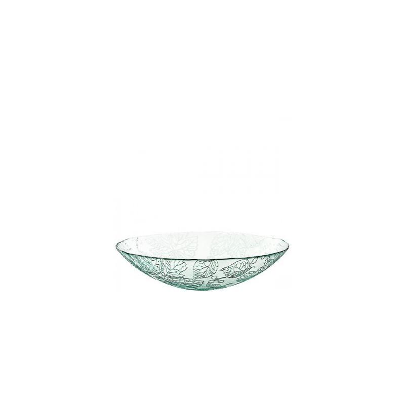 grand saladier en verre 100 recycl mod le cuenco otono motifs feuillages 10 x 40 cm. Black Bedroom Furniture Sets. Home Design Ideas